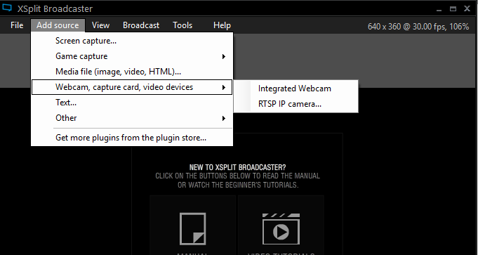 Add Source screen capture and webcam
