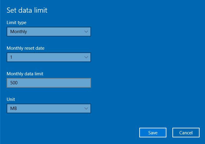 Windows 10 settings set data limit