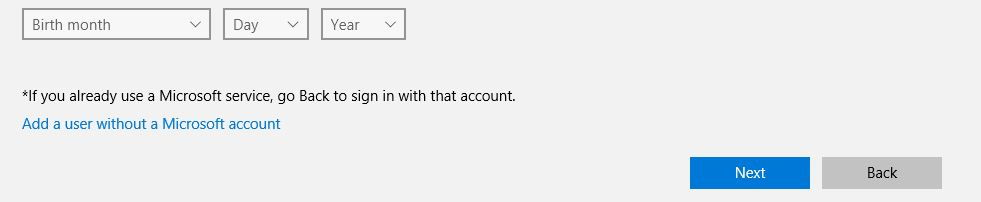 Add a user without microsoft account