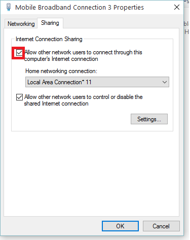 Allow other network users to connect through this computer