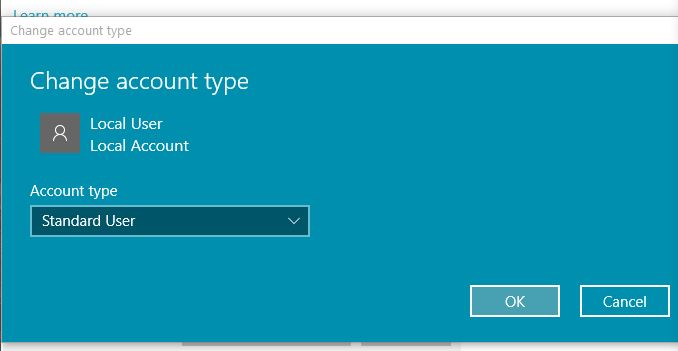 Change account type to administrator