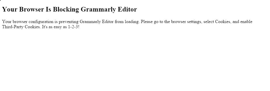 Fix your browser is blocking grammarly editor