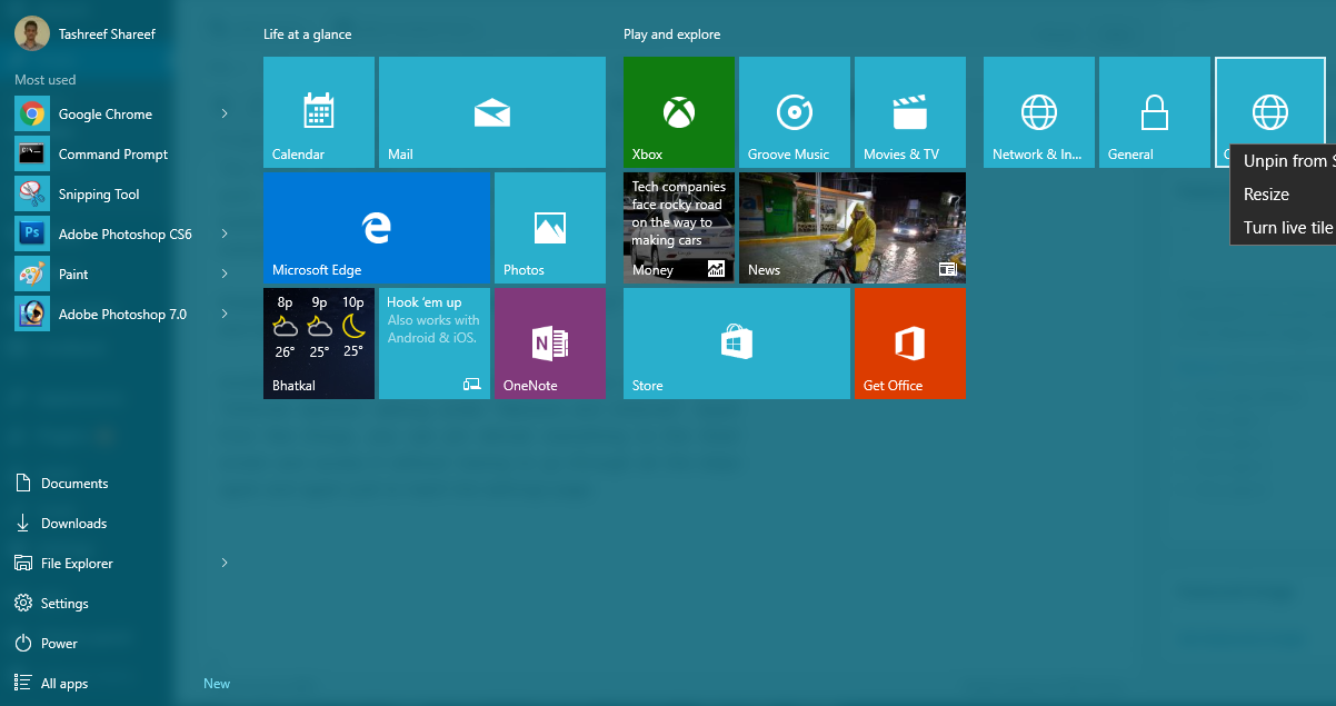 Pin Anything to Start screen in Windows 10