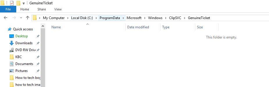 genuineticket folder empty