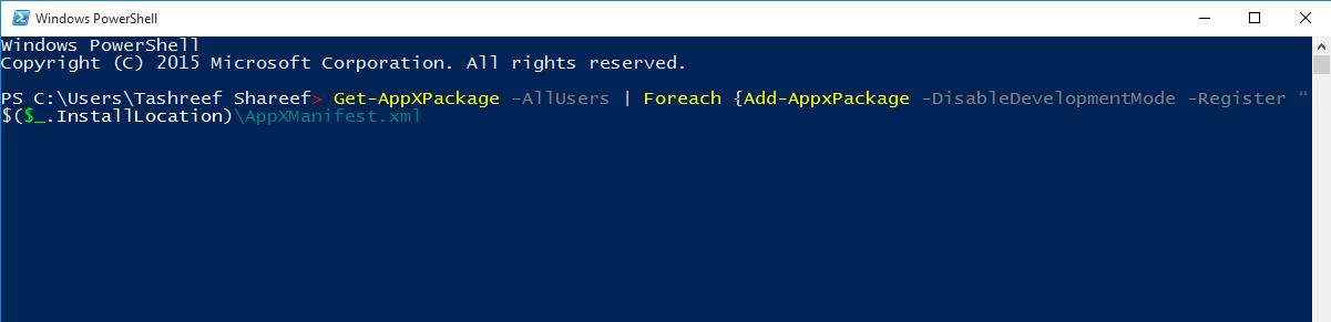 Fix Start Menu Not Opening in Windows 10 PowerShell command
