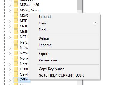 Rename Office in Registry Editor