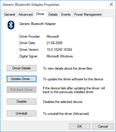 Windows 10 Device Driver Properties