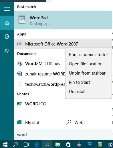 Word run as Administrator