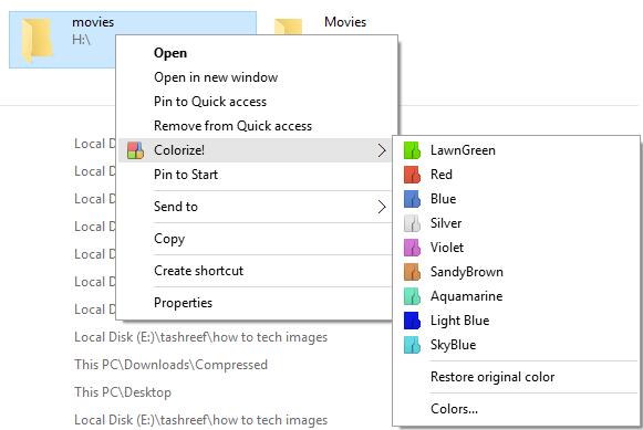 Folder Colorizer Colorize select color