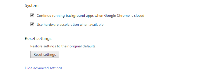 Reset Settings in Chrome