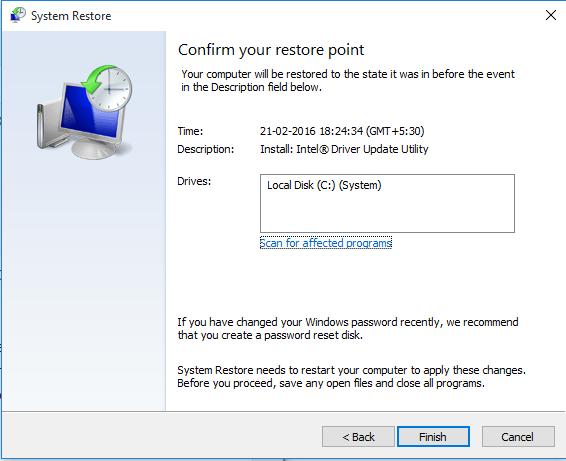 Restore PC to Restore Point