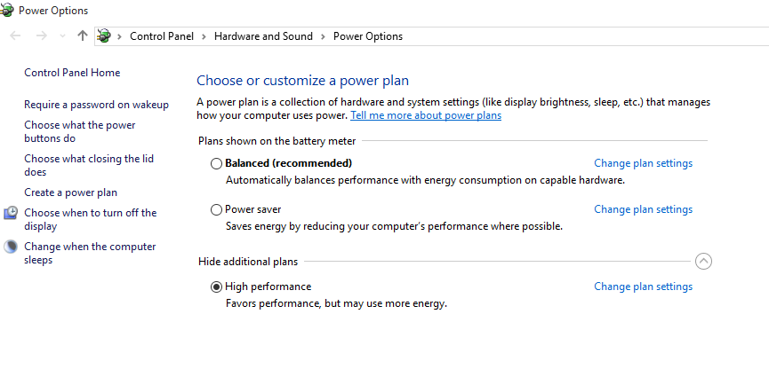 Power Option High Performance
