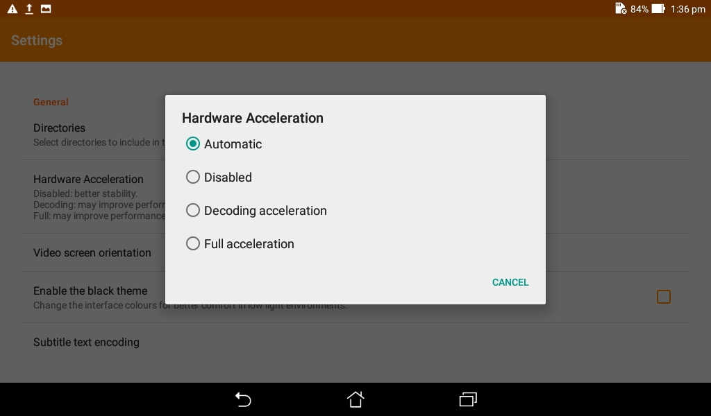 disable hardware accelation in VLC Media Player Android