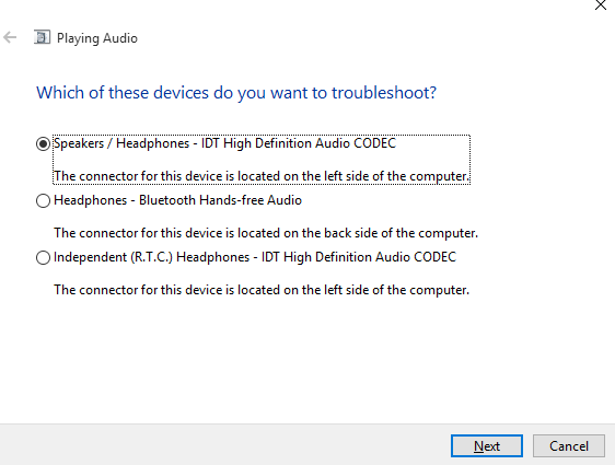 Select audio device for troubleshoot