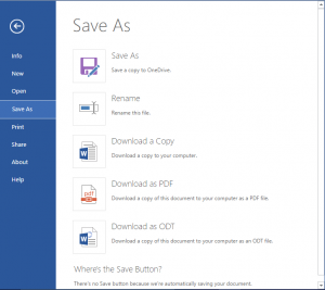 MS Office Online Save as