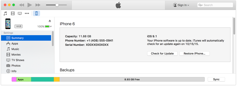 itunes iPhone summary tab