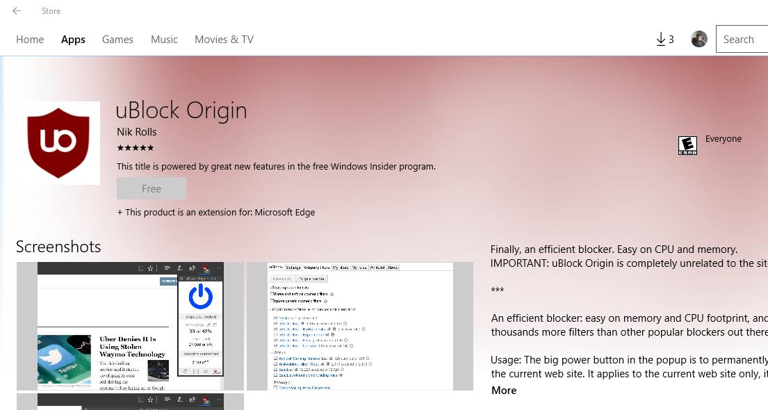 ublock edge windows 10 download install ublock origin ad blocker on microsoft edge. Black Bedroom Furniture Sets. Home Design Ideas
