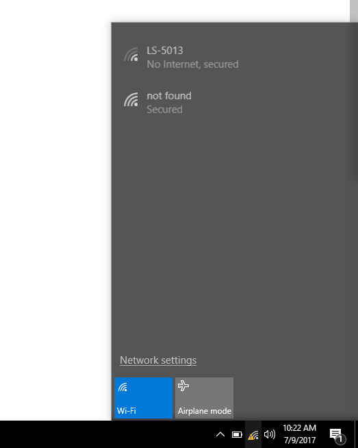 No wifi connection on windows 10