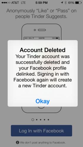 Delete tinder account start over