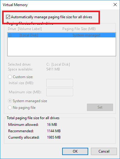 Virtual memory Settings Windows 10