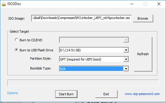 reset Windows 10 forgotten password - ISO2disc burner