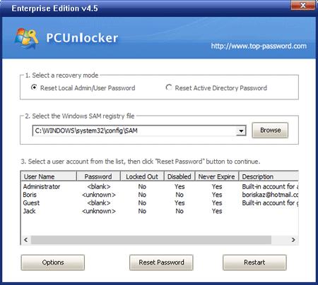 reset windows 10 password - PCunlocker password reset screen